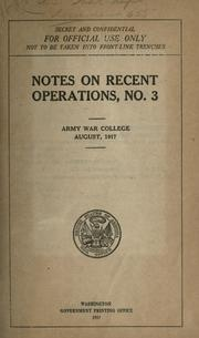 Cover of: Notes on recent operations