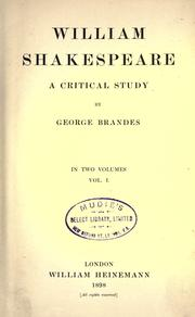 Cover of: William Shakespeare, a critical study