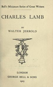 Cover of: Charles Lamb