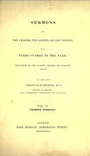 Cover of: Sermons on the lessons, the gospel, or the epistle: for every Sunday in the year; preached in the parish church of Hodnet, Salop