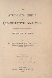 Cover of: The students' guide in quantitative analysis