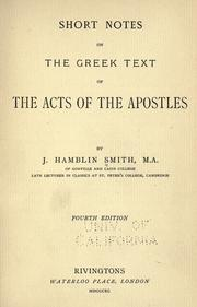 Cover of: Short notes on the Greek text of the Acts of the apostles