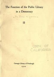 Cover of: The function of the public library in a democracy