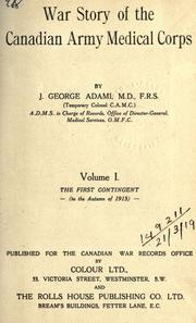 Cover of: War story of the Canadian Army Medical Corps