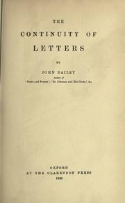 Cover of: The continuity of letters