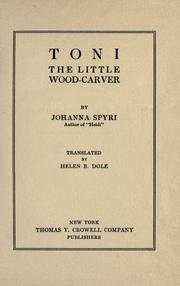 Cover of: Toni, the Little Wood-Carver: and other stories