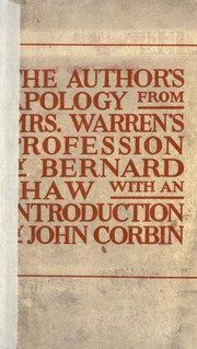 Cover of: The author's apology from Mrs. Warren's profession