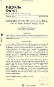 Cover of: Redescription of Ischadites elrodi (S. A. Miller, 1892)