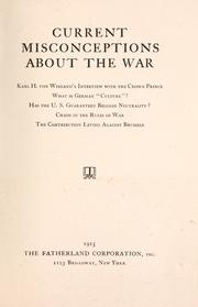 Cover of: Current Misconceptions About the War
