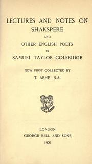 Cover of: Lectures and notes on Shakspere and other English poets