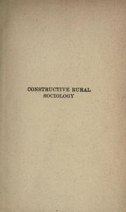 Cover of: Constructive rural sociology