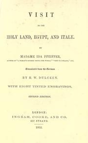 Cover of: Visit to the Holy Land, Egypt, and Italy