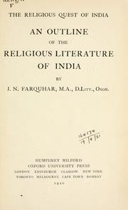 Cover of: An outline of the religious literature of India