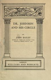 Cover of: Dr. Johnson and his circle