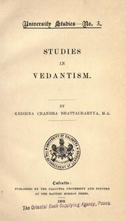 Cover of: Studies in Vedantism