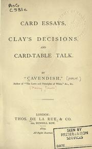 Cover of: Card essays, Clay's decisions, and card-table talk