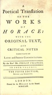 Cover of: A poetical translation of the works of Horace