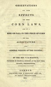Cover of: Observations on the effects of the corn laws