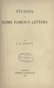 Cover of: Studies in Some Famous Letters ..