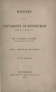 Cover of: History of the University of Edinburgh from its foundation
