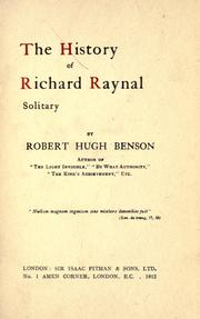 Cover of: The history of Richard Raynal, solitary
