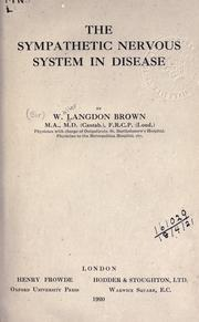 Cover of: The sympathetic nervous system in disease