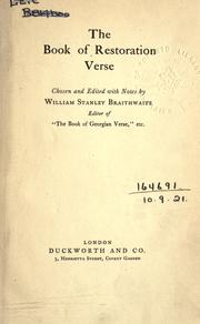 Cover of: The book of Restoration verse