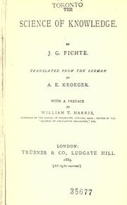 Cover of: The science of knowledge