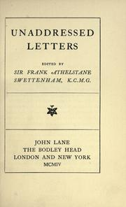 Cover of: Unaddressed letters