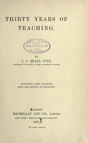 Cover of: Thirty years of teaching