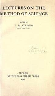 Cover of: Lectures on the method of science
