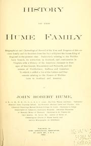 Cover of: History of the Hume family ..