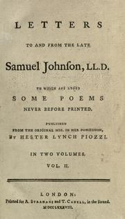 Cover of: The letters of Samuel Johnson: to which areadded some poems never before printed