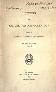 Cover of: Letters of Samuel Taylor Coleridge