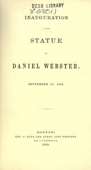 Cover of: Inauguration of the statue of Daniel Webster, September 17, 1859