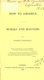 Cover of: How to observe morals and manners