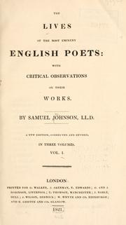 Cover of: The lives of the most eminent English poets: with critical observations on their works