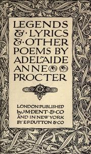 Cover of: Legends & lyrics & other poems