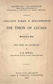 Cover of: The Timon of Lucian: Fritzsche's text