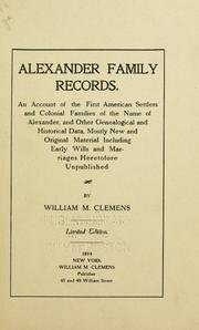 Cover of: Alexander family records