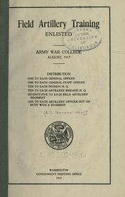 Cover of: Field artillery training