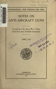 Cover of: Notes on anti-aircraft guns