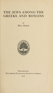 Cover of: The Jews among the Greeks and Romans