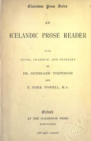 Cover of: An Icelandic prose reader, with notes, grammar, and glossary