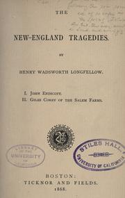 Cover of: The New-England tragedies