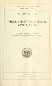 Cover of: Three short courses in home making