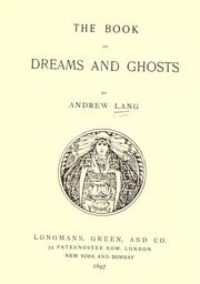 Cover of: The book of dreams and ghosts