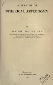 Cover of: A treatise on spherical astronomy