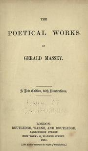Cover of: The poetical works of Gerald Massey: Complete in one volume.