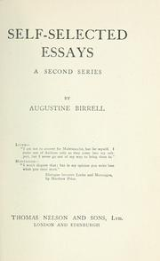 Cover of: Self-selected essays: a second series